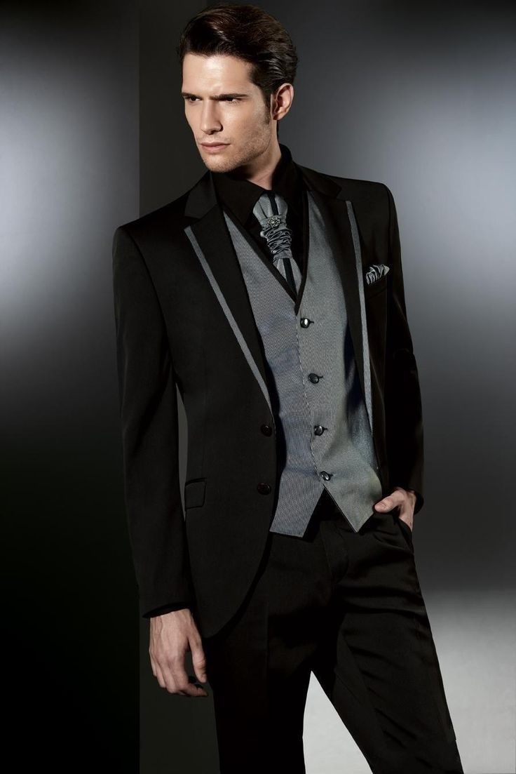 Black Silver Two On Slim Fit The Best Man Suits For Wedding Groom Tuxedos Men
