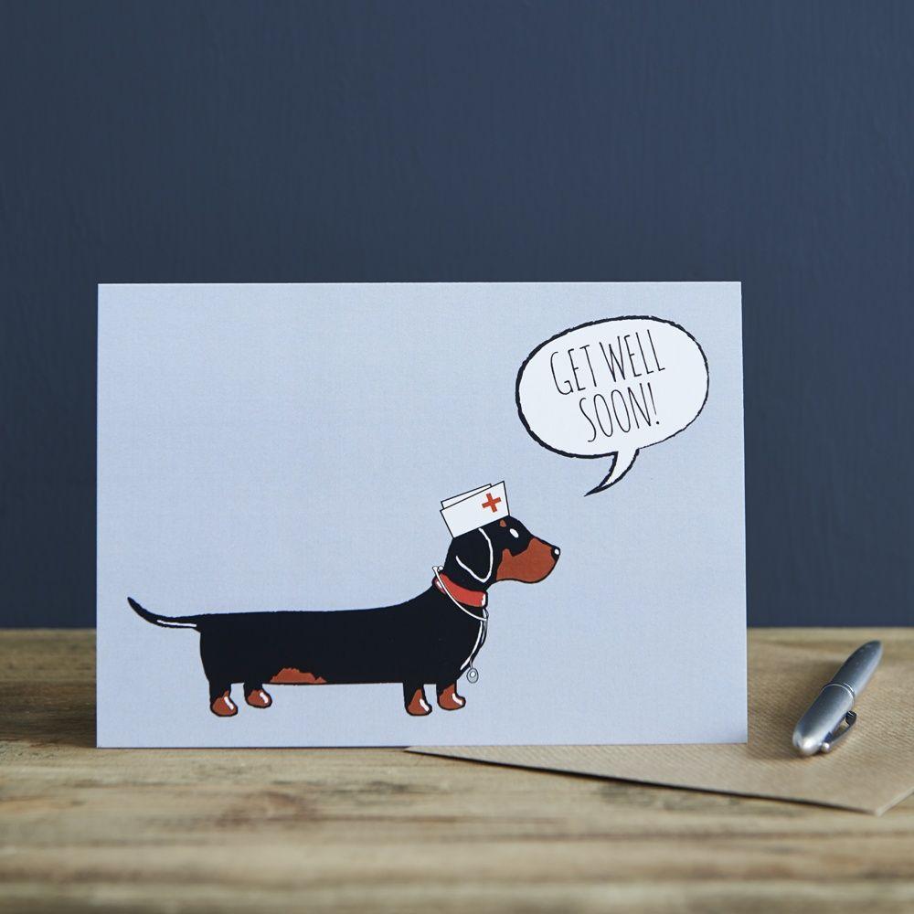 Dachshund Sausage Dog Get Well Soon Card Mischievous Mutts