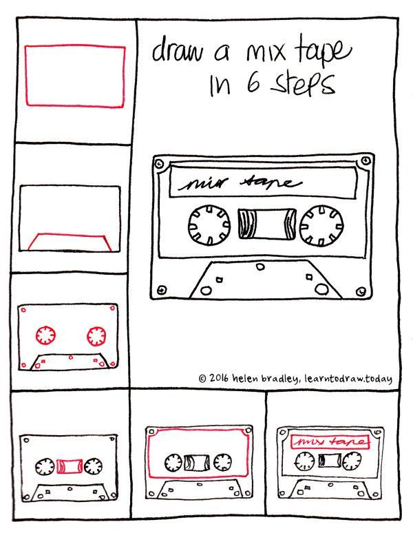 How to draw a mix tape in 6 easy steps hand lettering for How to draw doodles step by step