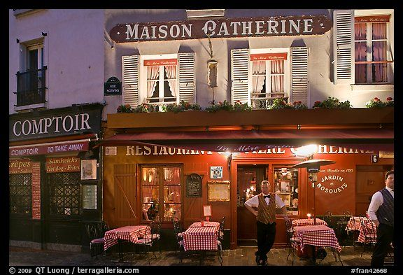 Restaurant And Waiter At Night Montmartre Paris France Color