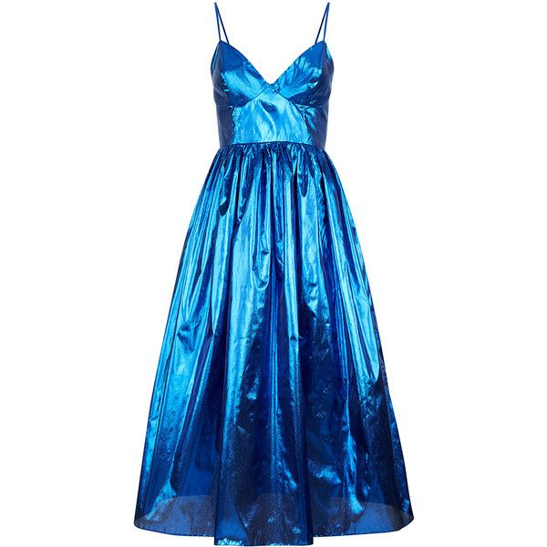 Malene Oddershede Bach     Apogee Gathered Metallic Dress (2.005 BRL) ❤ liked on Polyvore featuring dresses, blue, vestidos, ruched empire waist dress, rouched dress, sweetheart neckline dress, metallic dress and empire waist a line dress