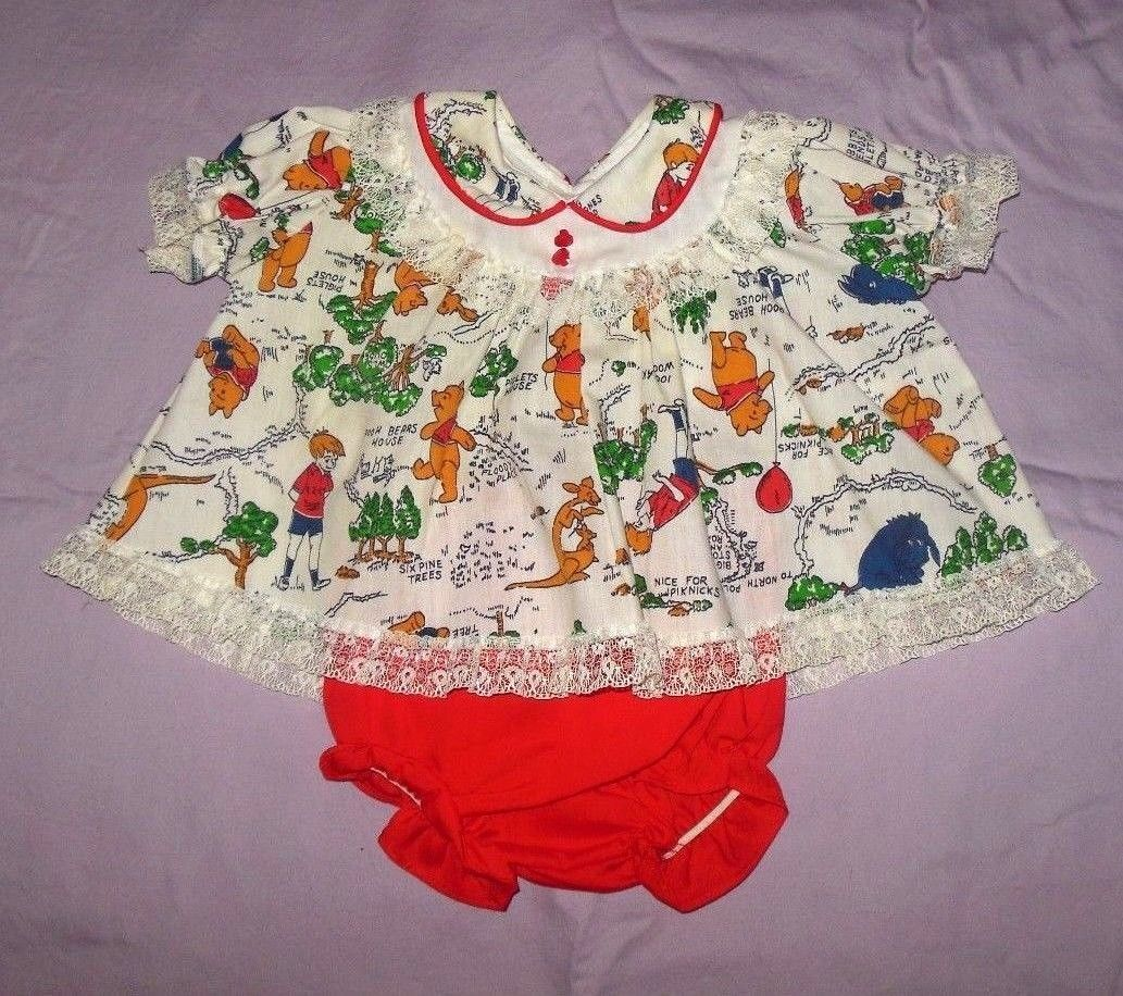 Sears Baby Clothes Prepossessing Vintage Sears Winnie The Pooh Baby Dress & Panties Small 1520 Lbs