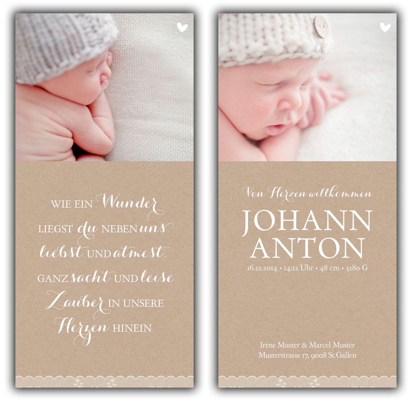 Geburtskarte Geburtskarten Geburtsanzeige Danksagung Geburt
