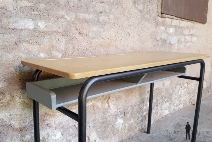 Bureau ancien décole 2 places bois et métal gris clair
