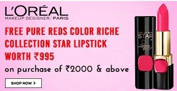 Free Reds Color Riche Star Lipstick worth Rs.995 on purchase of Rs.2000  Nykaa