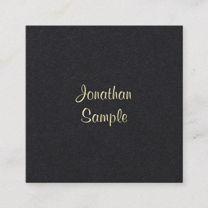 creative gold handwritten script font modern black square
