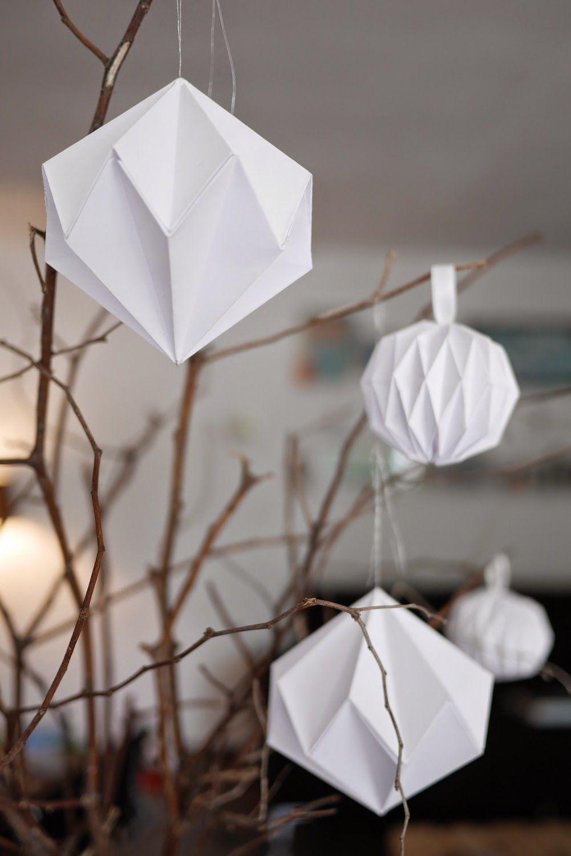 diy décoration de noël boules origami, diamants en papier | origami