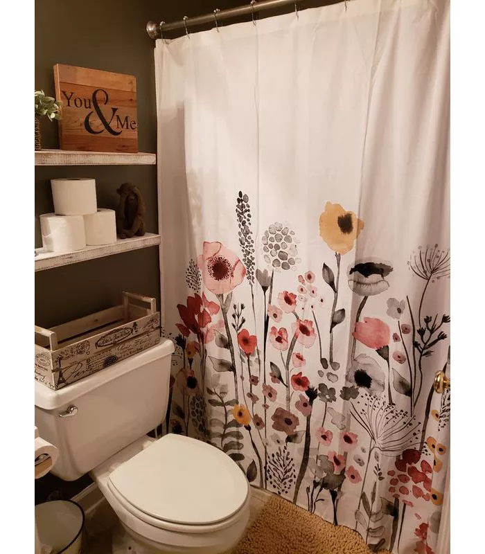 Shower Curtain Floral Wave Threshold Small Bathroom Decor