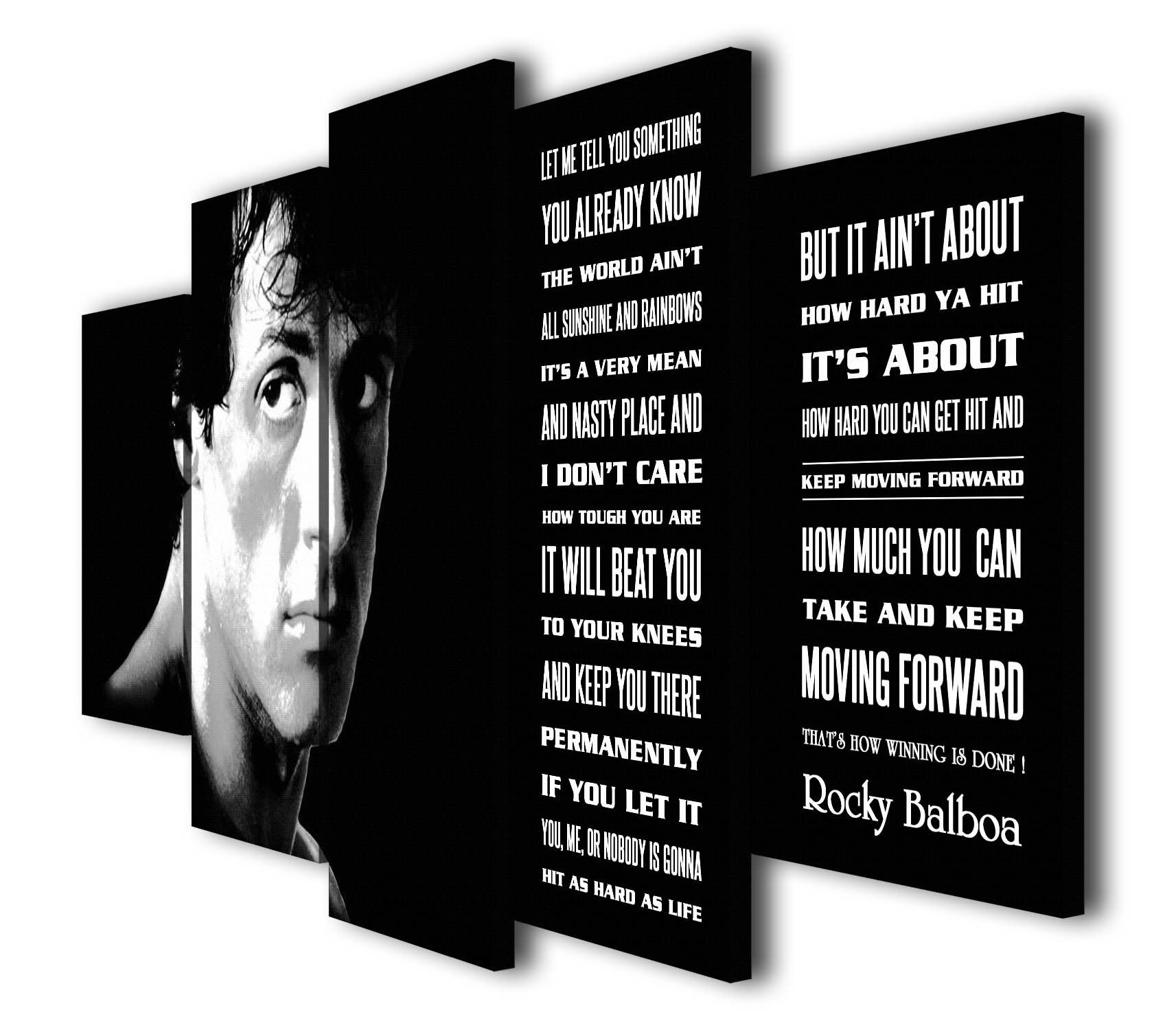 ROCKY BALBOA HIS QUOTE  BLACK AND WHITE  PRINT ON FRAMED CANVAS WALL ART DECOR
