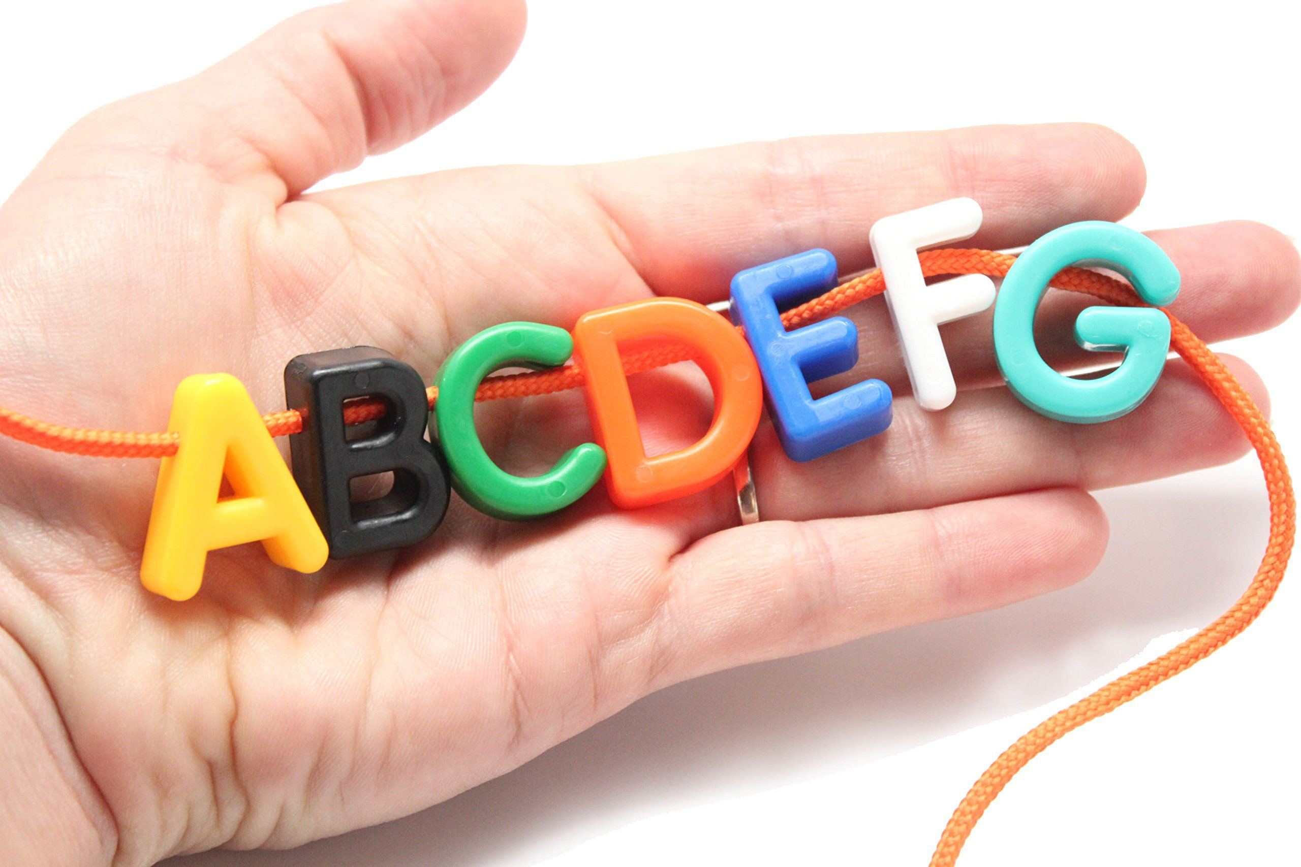 Uppercase Alphabet Lacing Beads Busy Bag - Perfect Fine Motor Learning Activity for Toddlers and Preschoolers. Sort By Shape and Color, Large Beads