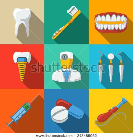Dental Flat Long Shadow Icons Set With