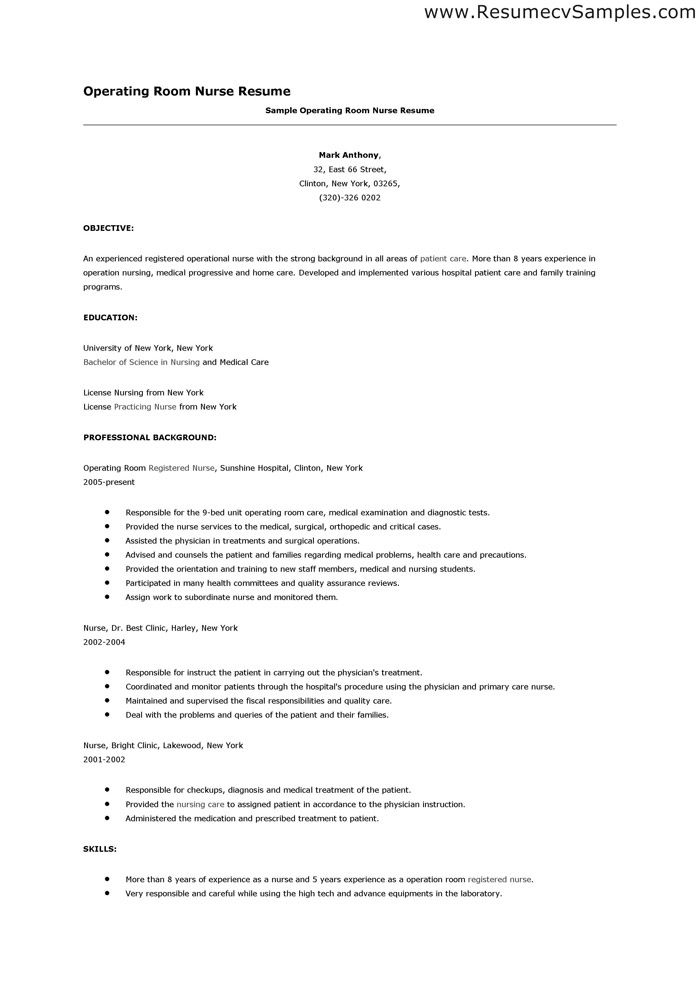 Operating Room Nurse Resume - Http://Www.Resumecareer.Info