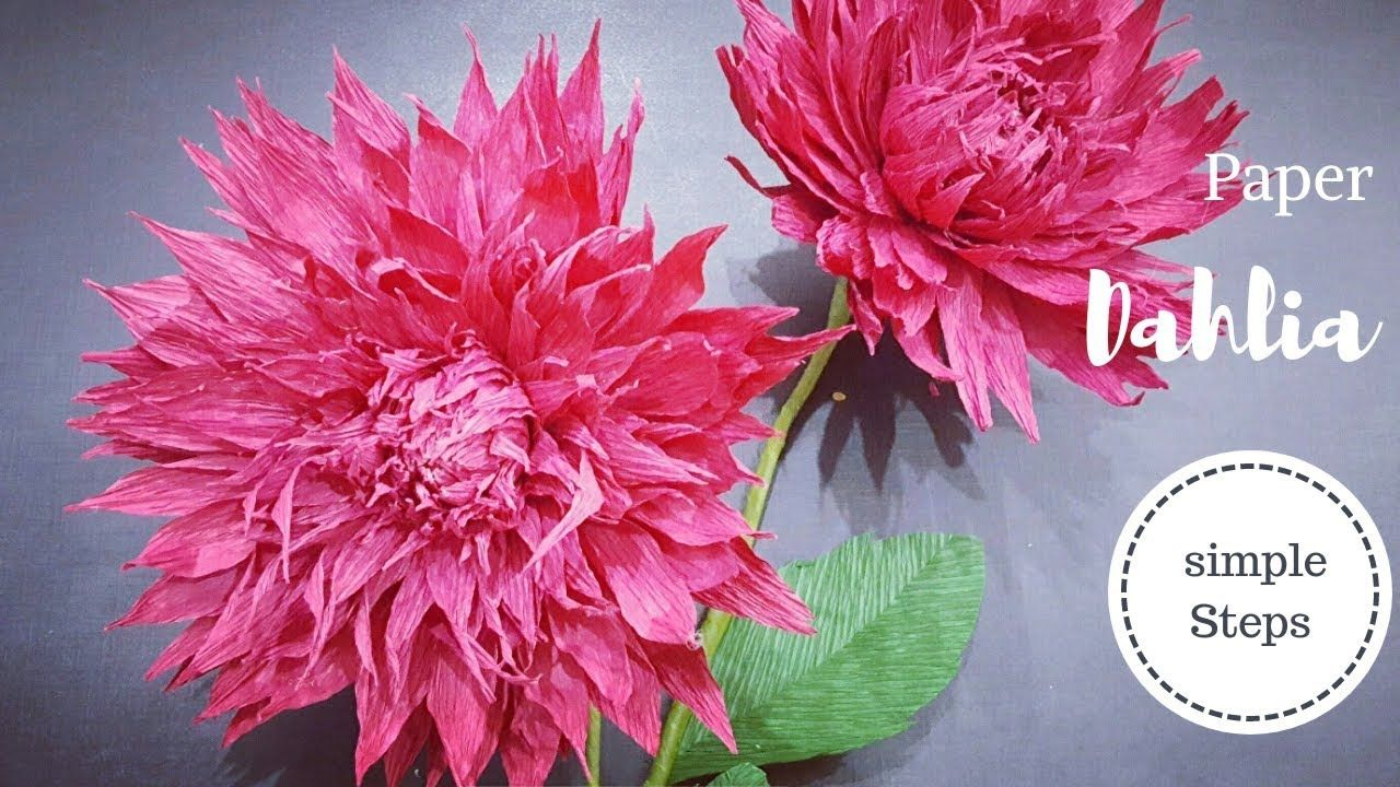 Crepe Paper Flower How To Make Paper Dahlia Flower From Crepe Paper Paper Flowers Paper Flowers Diy Paper Flower Kit