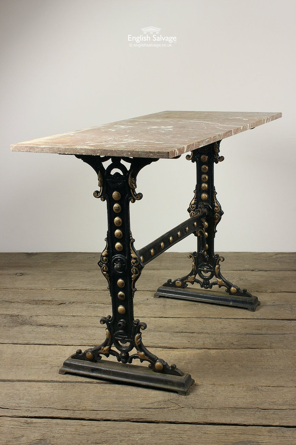 Cast Iron Table Base With Red Marble Top In 2019