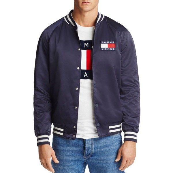 d4d7e159 Tommy Hilfiger Satin Varsity Logo Bomber Jacket ($172) ❤ liked on Polyvore  featuring men's