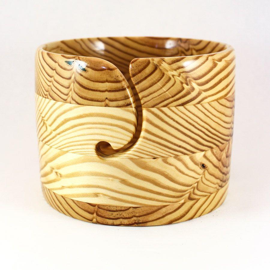 Large YARN BOWL, Wood, Straight Sides, Beautiful Amber ...