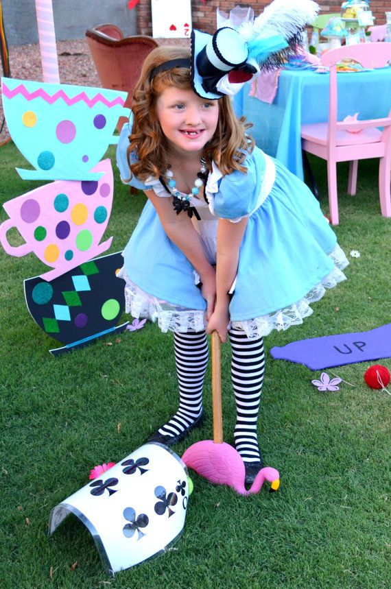 Alice In Wonderland Playing Card Croquet Game Alice Birthday Party Mad Hatter Girl Alice In Wonderland Party Mad Hatter Party Alice In Wonderland Birthday