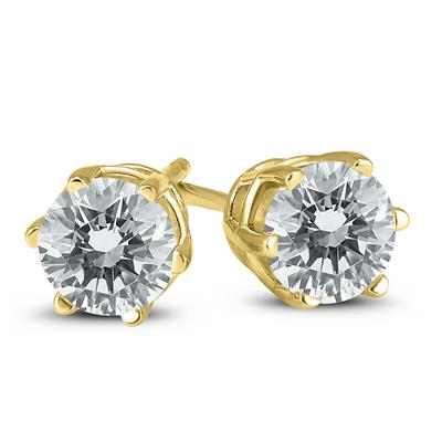 1 2 Carat Tw 6 Prong Round Diamond Solitaire Stud Earrings In 14k Yellow Gold Erf59729 Stud Earrings Solitaire Studs Diamond Solitaire
