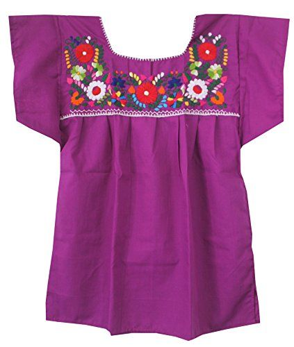 eb6c0c102420c Liliana Cruz Embroidered Mexican Peasant Blouse (Electric... https   www