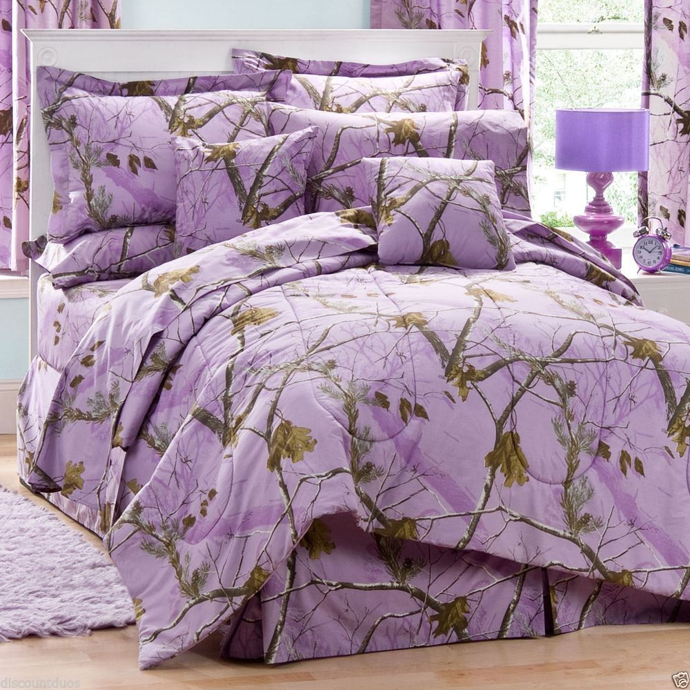 Realtree ap camo lavender comforter bedding set and matching sheet