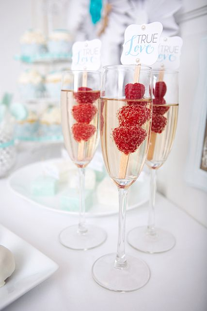 Drinks at a Lace and Pearls Bridal Shower!  See more party ideas at CatchMyParty.com!  #partyideas #bridalshower