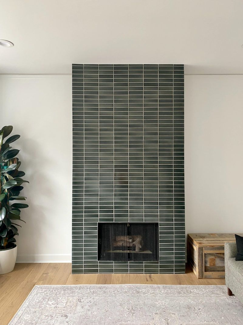 Fireplace Tiles In Dark Green Fireclay Tile Fireclay Tile In 2020 Fireplace Tile Stone Tile Fireplace Tiled Fireplace Wall