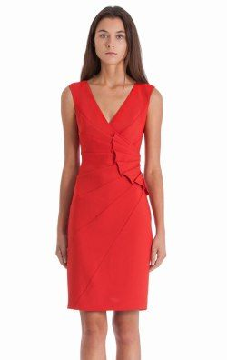 Pleated V Neck Dress By Js Collections 864440 Js Collections Dress