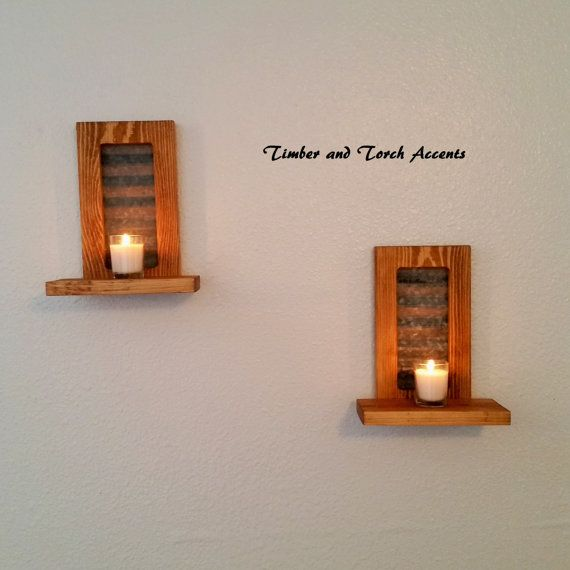 Wooden wall sconce, Wood candle holder, Primitive country ...