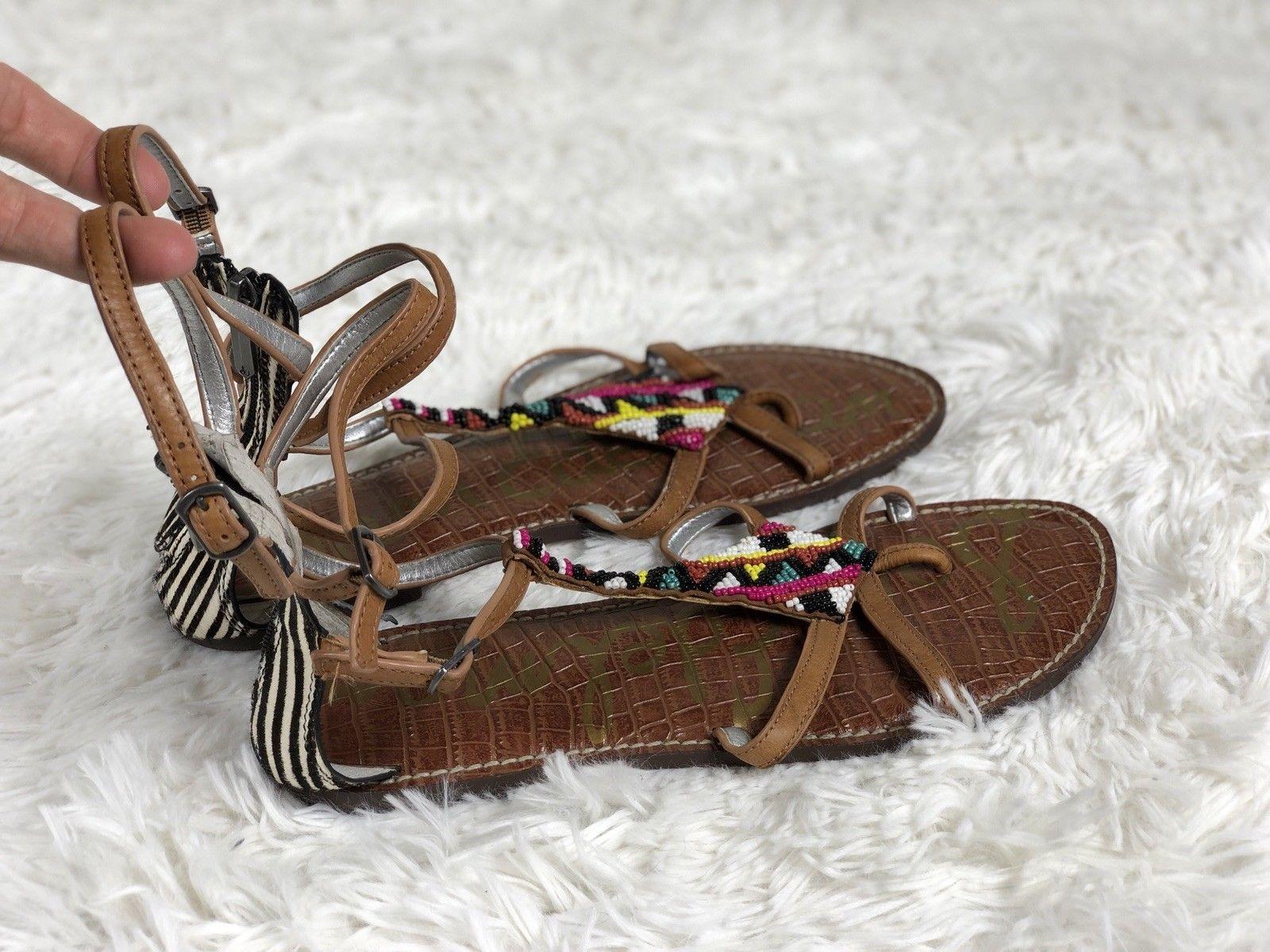 e85acda4a 17.95 ❤ Sam Edelman GISELLE Zebra Heel Beaded Straps Gladiator Sandals 10 ❤   edelman