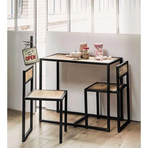 Lampade, scrivania, sedie ufficio avvisami. Tavolo Per Sala Da Pranzo 2 Sedie In Mango E Metallo L 90 Cm Table Salle A Manger Table Haute Salle A Manger