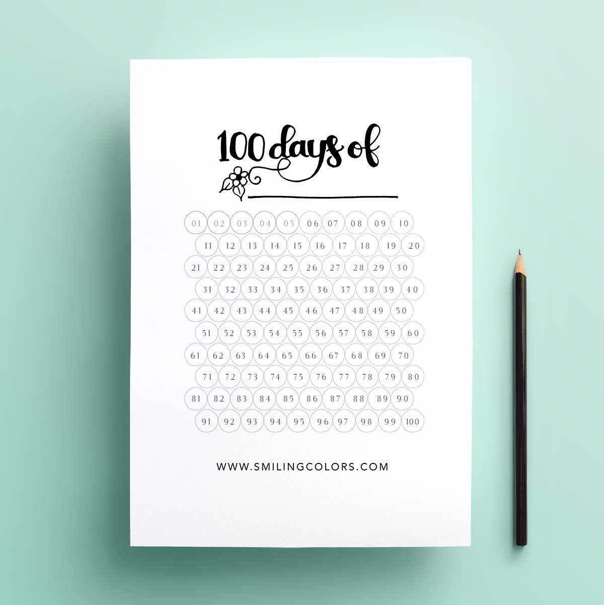 Free 100 Day Goal Tracking Printable