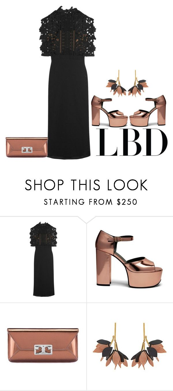 """""""Black Dress"""" by lovetodrinktea ❤ liked on Polyvore featuring self-portrait, Mulberry, Tory Burch, Marni and LBD"""