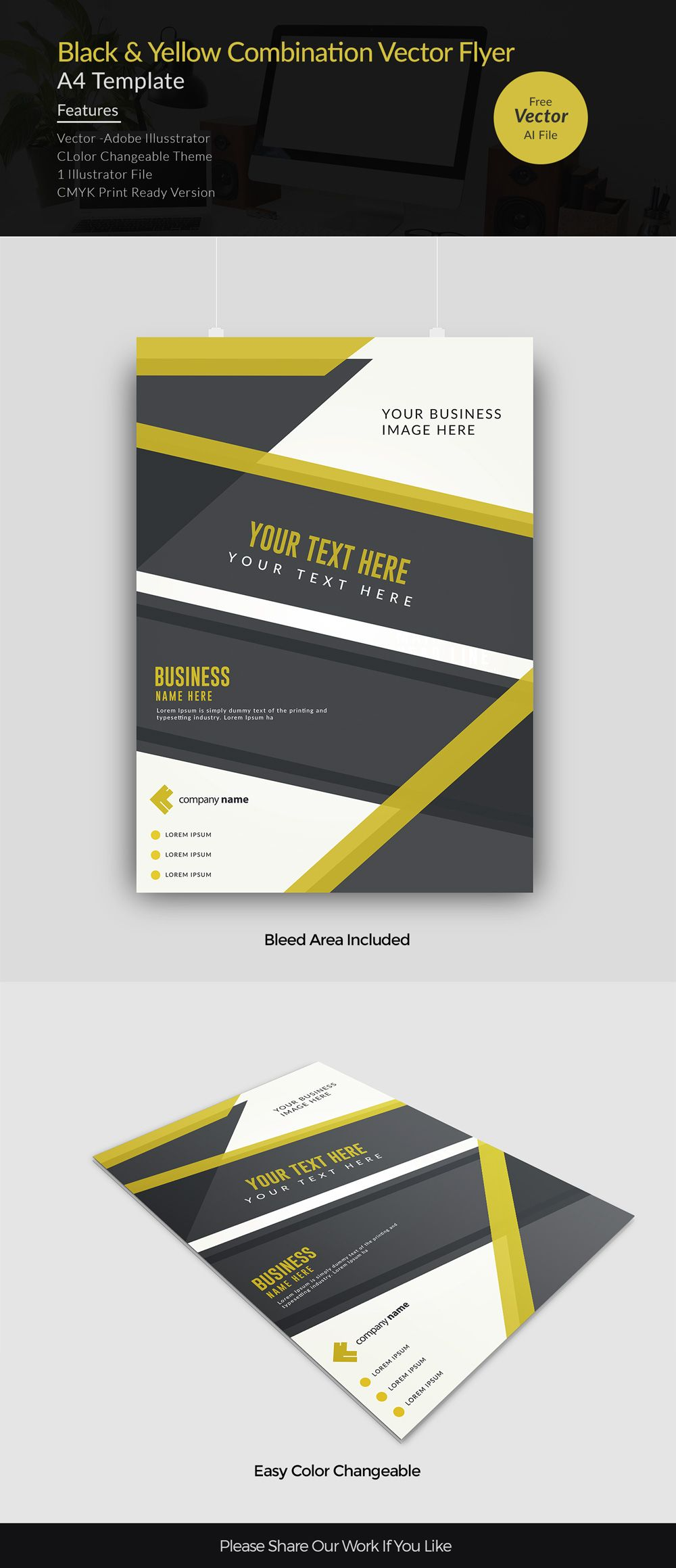 Black And Yellow Combination Corporate Illustrator Flyer Template