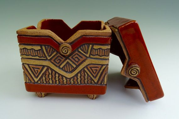 Aztec Lidded Slab Pottery Box Hand Built Hand Carved Sienna Red Brown Tan Buttons Earthy Geometric Triangles Slab Pottery Pottery Ceramic Boxes