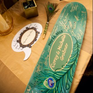 Our guest book was a skateboard.