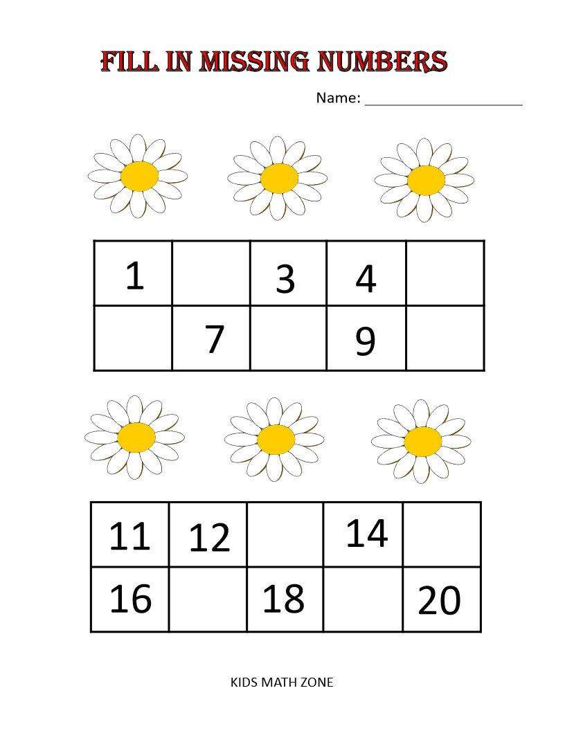 Fill In Missing Numbers Printable Worksheets Preschool Etsy Preschool Activities Printable Homeschool Worksheets Numbers Preschool [ 1056 x 816 Pixel ]