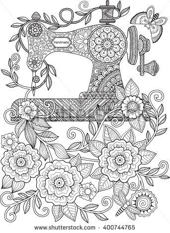Decorative Vintage Sewing Machine With Ornaments And Flowers Coloring For Adults Meditation Vector Elements