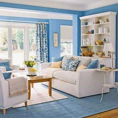 deco ruang tamu biru | desainrumahid