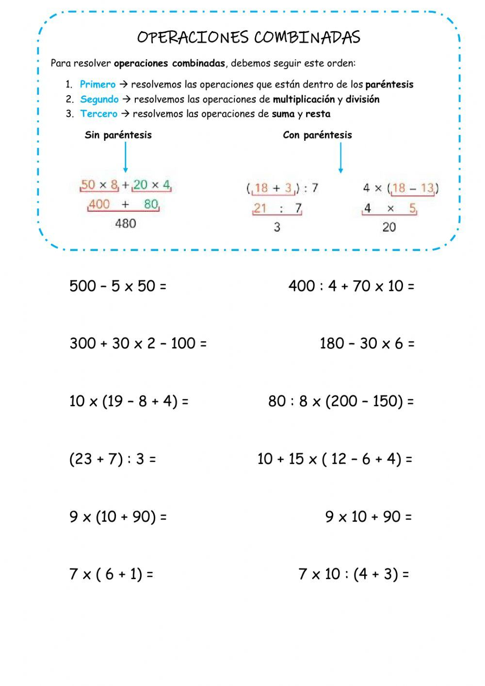 Operaciones Combinadas Interactive Activity For 5º Educación Primaria You Can Do The Exercises Onlin In 2021 Mental Maths Worksheets Teaching Math Order Of Operations
