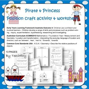 Pirate & Princess Position craft activity & worksheets