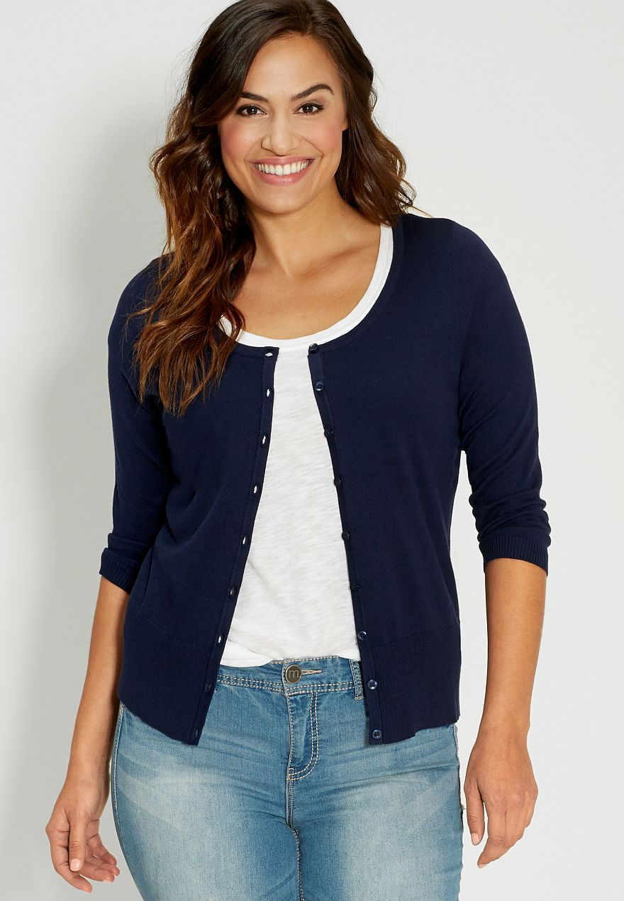 the classic plus size cardi with scoop neck in blue jasmine