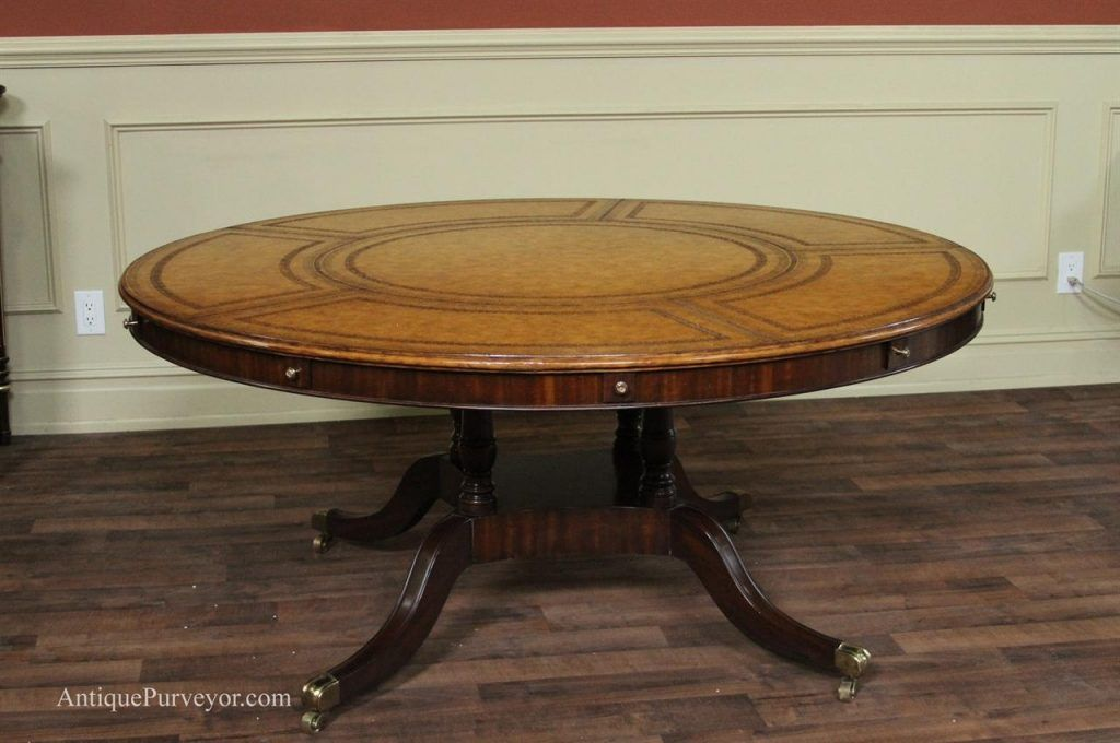 Large Round Dining Table Maitland Smith Leather Top Large Round