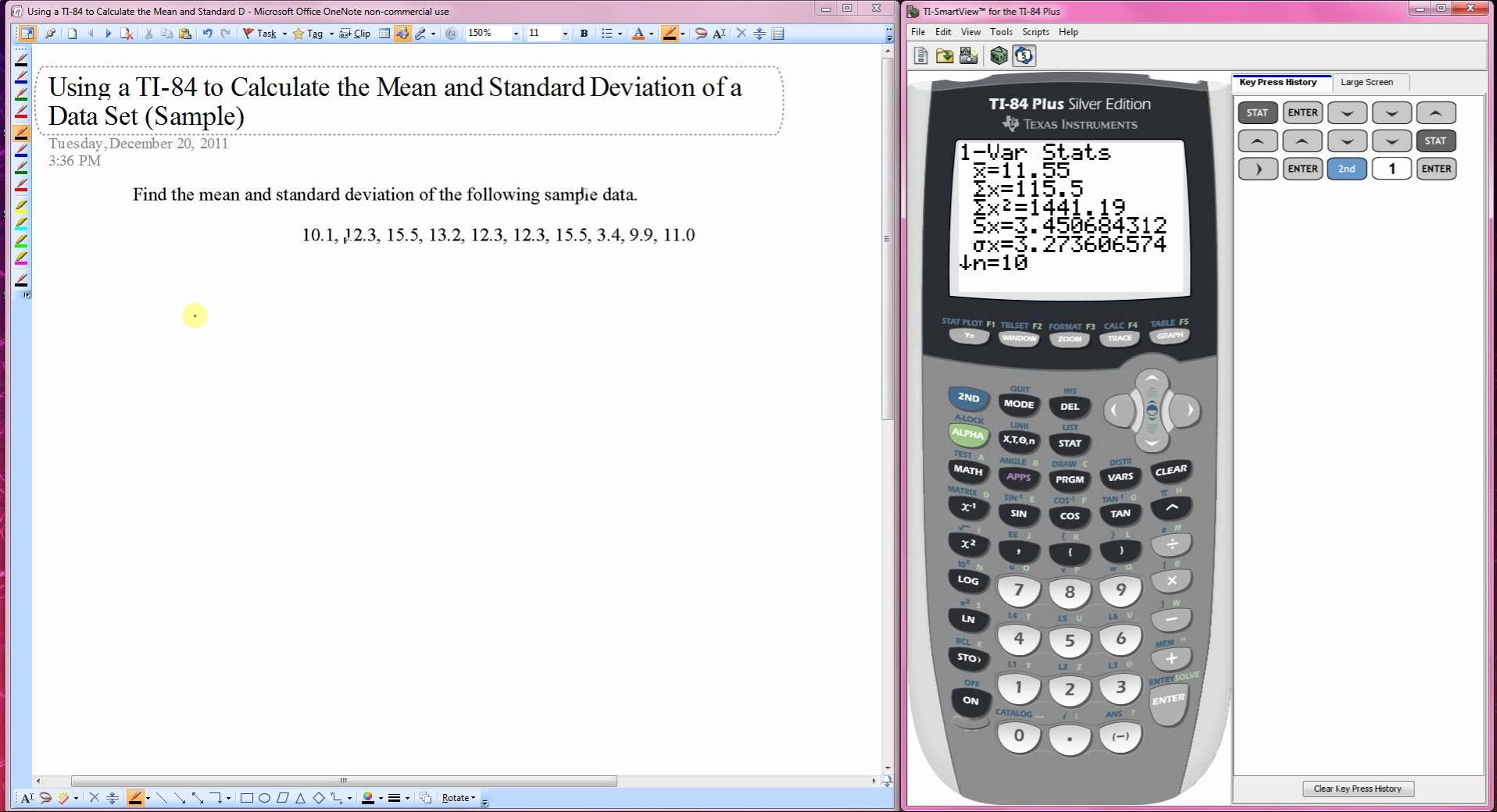 Using A Ti 84 To Calculate The Mean And Standard Deviation