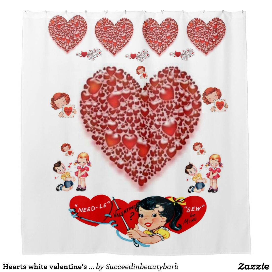 Hearts White Valentines Day Shower Curtain