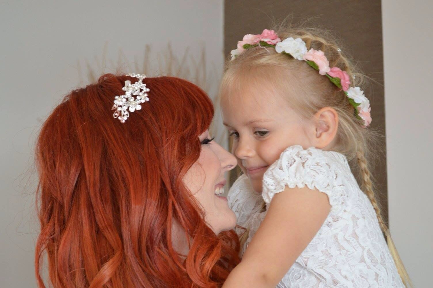 Red Hair Flower Crown Flower Girl Bride Diy Colourful Wedding
