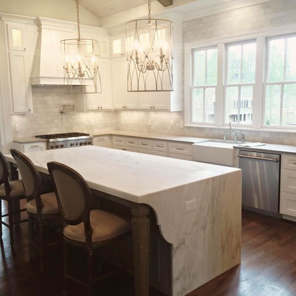 Waterfall Edge Countertops Alabama White Marble Surface One