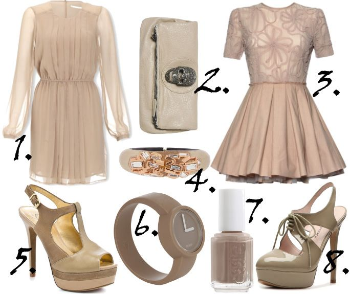 Taupe color taupe dress taupe shoes