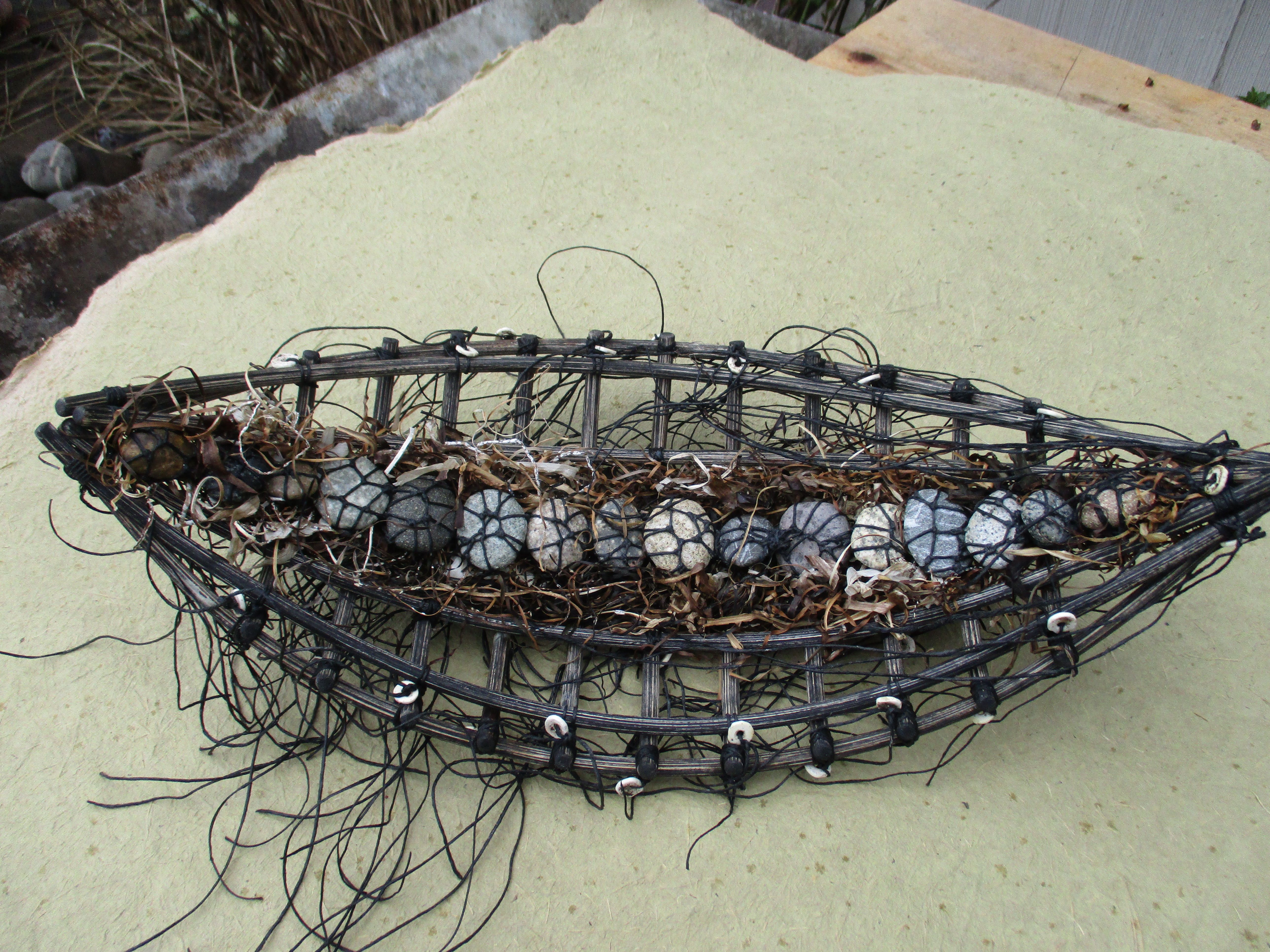 stitched beach rocks, kelp, boat Shannon Weber, Oregon