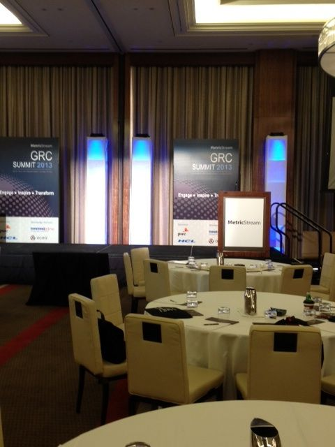 MetricStream GRC Summit 2013 at the Mandarin Oriental Hotel in Las Vegas - Keynote stage awaiting speakers