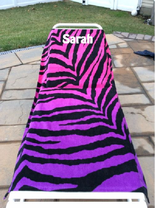 Large Oversized Beach Towel Ombre Zebra Personalized Or